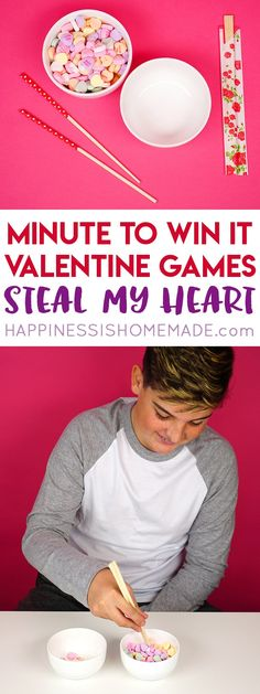 These Minute to Win It Valentine Games will be the hit of your Valentine's Day party! Valentine Minute to Win It Games for kids and adults - everyone will want to play! My Funny Valentine, Valentines Games, Valentines Day Activities, Valentines Day Party, Valentines For Kids, Valentine Ideas, Valentine Bingo, Valentine Crafts, Dinner Party Games