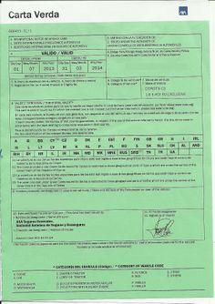 Permís per conduir a l'estranger que certifica que un cotxe disposa d'una assegurança de Responsabilitat Civil Obligatòria.