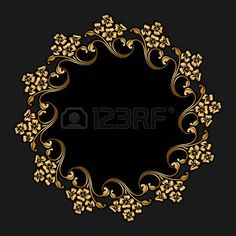 Vector floral del oro ornamento redondo para la impresi�n, bordado sobre fondo negro. photo Embroidery Flowers Pattern, Flower Patterns, Machine Embroidery Designs, Flower Designs, Magic Design, New Media Art, Arabic Calligraphy Art, Foil Art, Celtic Art