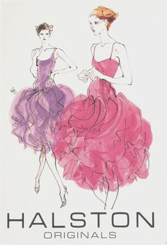 #halston Halston originals in ruffled pink and lilac.     Illustration done by Kenneth Paul Block for Halston.