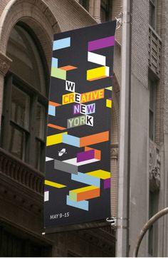 Fun with shapes Creative Week New York Identity - Matt Luckhurst City Branding, Event Branding, Environmental Graphics, Environmental Design, Signage Design, Banner Design, Brand Identity Design, Branding Design, Packaging Design