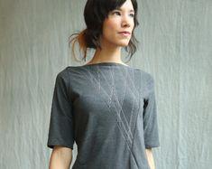 Women's Black Top Cotton Jersey Long Sleeve Lace