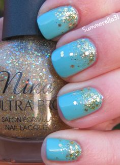 Finger Paints Tiffany Imposter, Nina Ultra Pro Holographic Top Coat, Sally Hansen Set the Stage and Cover Girl Gold Rush