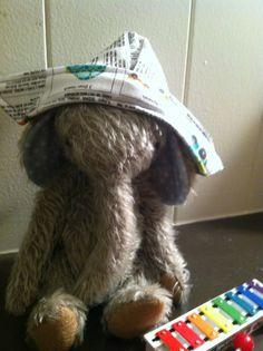 "Mohair elephant doll.  Cloth ""paper"" hat. Elephant doll hand made.  Mohair elephant."