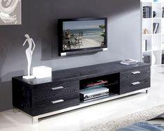 Modern Media Console with Glass Shelf in Black BM120-BLK