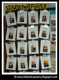 "You take a picture of each student wearing a detective hat and a trenchcoat with a badge. The printed page read, ""Just the Facts About (insert student name)."" The children then wrote interesting facts about themselves on the paper. Mount each onto brown cardstock, round the corners and use aluminum foil to make them look like clipboards."