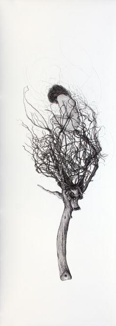 #Inés #González TÍTULO: Driada II • TÉCNICA: Tinta china sobre papel • TAMAÑO PAPEL/PLANCHA (cms):108x38/108x38 • EDICIÓN: Pieza única • http://www.a-cuadros.com/artistas/artista/208