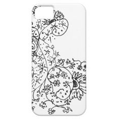 Delicate Line Drawings of Abstract Flower Dance iPhone 5/5S Covers