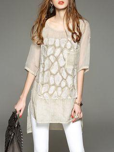 Shop Tunics - Khaki Graphic Casual Appliqued Crew Neck Tunic online. Discover unique designers fashion at StyleWe.com.