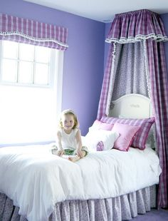 adorable girl's canopy from betsy powers interiors, wellesley ma Girls Canopy, Canopy Beds, Girls Bedroom Colors, Toddler Bed, Fabric, Bedrooms, Interiors, Colorful, Furniture