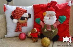 Cojines Santa y Reno Christmas Applique, Christmas Sewing, Christmas Crafts, Christmas Ornaments, New Years Decorations, Christmas Decorations, Holiday Decor, Decor Crafts, Diy And Crafts