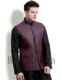 Amazing Wine Waist Coat Item code : NJ1152  http://www.bharatplaza.com/mens-wear/coats/amazing-wine-waist-coat-nj1152.html