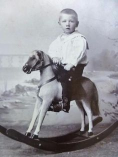 Antique-CABINET-CARD-Photo-c1890s-Sweet-Little-Boy-Child-on-Rocking-Horse-Toy