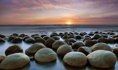 Sunset over California's Bowling Ball beach