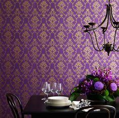 Flannel flower damask wallpaper in gold on purple.. love the luxe...