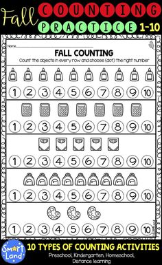 10 Counting activities within Numbers 1-10, on 60 pages.  Counting, choosing the correct number, identifying numbers, writing numbers, matching quantities, finding corresponding numbers Counting with dice, ten frames, tally marks, objects Designed for PreK and Kindergarten students. Perfect for morning warm up, class work, homework or math centers Kindergarten Math Activities, Counting Activities, Fun Math, Preschool Worksheets, Preschool Classroom, Classroom Decor, Numbers 1 10, Writing Numbers, Learning Numbers