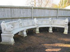 Reclaimed impressive curve stone bench with lions for sale on SalvoWEB from V&V Reclamation in Hertfordshire [Salvo code