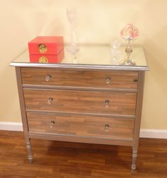 Step by step on how to make a mirrored dresser!