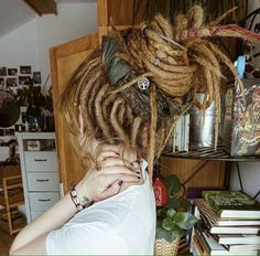 Natty Dread White Girls/Updo with head wrap chilli. - Natty Dread White Girls/Updo with head wrap chilli. Hippie Dreads, Dreads Girl, Hippie Hair, White Girl Dreads, Dreadlock Extensions, Dreadlock Styles, Dreads Styles, Hair Styles, Blonde Dreadlocks