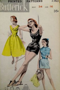 1950's Vintage Miss' Summer Play Suit Boy Shorts Butterick Sewing Pattern #7763