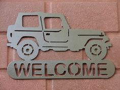 Jeep adresse / nom PLAQUE Home Decor Metal par artbyjack Metal Projects, Welding Projects, Steel Fence Panels, Diy Crafts Slime, Metal Welcome Sign, Name Plaques, Cnc Plasma, Jeep 4x4, Scroll Saw Patterns