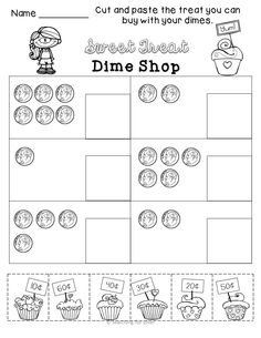 It is FUN to learn about U.S. Coins! Shop at the Sweet Treat Dime Shop, printables, coin sorting mat, and small group math center.