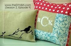 Burlap Throw Pillow by daisyspetals , Or go to Jo Ann fabrics and copy the print , easy enough to do and if you can't sew find someone who can and would ! Shouldn't cost much .