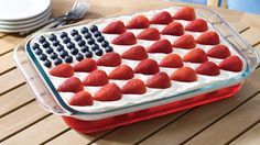 Wave Your Flag Cheesecake - Luscious berries float above layers of fluffy cream cheese, strawberry gelatin and moist pound cake. A gold medal winning treat!