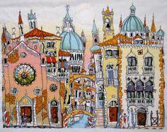 Venice Palazzo - Handmade Cross Stitch