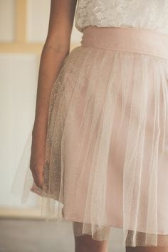 white laced top + tule pink skirt
