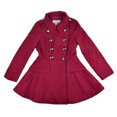 @Overstock.com - Jessica Simpson Girl's Double Breasted Peplum Peacoat - This girl's double breasted peacoat by Jessica Simpson features soft material in a long length-cut which highlights a classic double breasted closure and peplum ruffle around the waist.  A lapel collar and glossy decorated buttons complete the look.  http://www.overstock.com/Clothing-Shoes/Jessica-Simpson-Girls-Double-Breasted-Peplum-Peacoat/8433688/product.html?CID=214117 $49.99