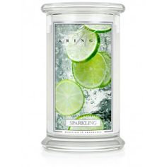 Kringle Candle - SPARKLING Large 2 Wick - The bright, zesty appeal of crisp, cold mineral water abound refreshingly in happy union with citrus and fruit notes