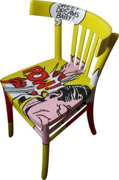 """Pop Art Chair Lichtenstein---would be a great idea for a """"special"""" chair in a classroom. I love it, could also use any cartoon, batman etc, so cute for kids room, desk Art Furniture, Graffiti Furniture, Funky Furniture, Upcycled Furniture, Furniture Design, Decoupage Furniture, Luxury Furniture, Hand Painted Chairs, Hand Painted Furniture"""