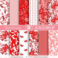 Red Digital Paper Red Floral Paper Pack Red by blossompaperart