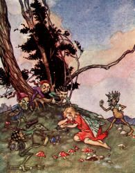 The wicked little goblin men came creeping, creeping round - The Magic Kiss by Christine Chaundler, 1916