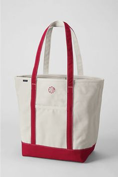 Large Open Top Long Handle Canvas Tote from Lands' End