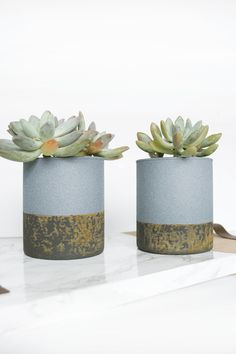 Faux Concrete Planters with a Rust Patina created with the Metal Effects Rust Patina Kit | Project by Brepurposed and featured on the Modern Masters Blog