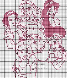Les 6 princesses en grille monochrome :