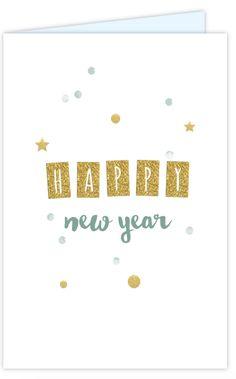 Hippe staande nieuwjaarskaart met goudlook slinger, groene confetti, sterren en dots met tevens een goudlook. Geheel zelf aan te passen.