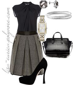 """""""Pleated Skirt - Work"""" by lisa-eurica ❤ liked on Polyvore"""