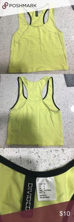 H&M crop top Neon yellow racer back crop top. Great condition H&M Tops Crop Tops