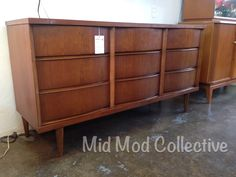 Mid century modern Bassett 9 drawer dresser or credenza. Available now at Mid Mod Collective. Email midmodcollective@gmail.com for more info. SOLD!