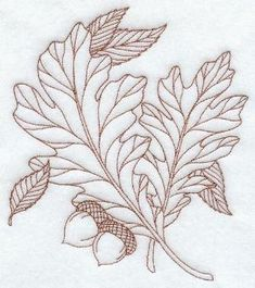 White Oak Leaves (Redwork) by bridgette.jons