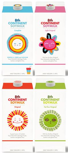"8th Continent Soymilk: ""all packaged in brilliant designs by Bob Dinetz and illustrated by Ben Javens."""