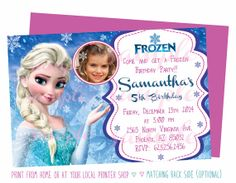 Disney Frozen Birthday Printable Invitation - Personalized Photo Party Invites - First Birthday Party - Digital File - 0080 Free Online Birthday Invitations, Birthday Invitation Card Template, 50th Birthday Party Invitations, Birthday Ideas, Invitation Templates, Birthday Parties, Disney Frozen Birthday, Frozen Theme Party, Party Ideas