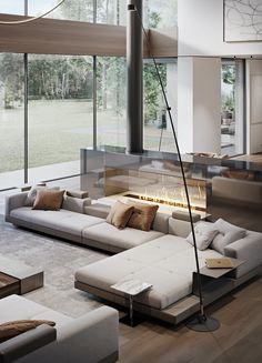 Living Room Sofa Design, Home Room Design, Dream Home Design, Living Room Interior, Home Living Room, House Design, Home Design Furniture, Modern House Furniture, Luxury Living Rooms