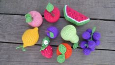 Crochet frui 9 Pieces - crochet fruit,Sensory Toy,Toddler Learning Toy,Nursery Decor, Preschool Game, Busy Bag Toy, Kids GIft, Play Food Set