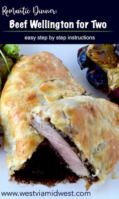 SIMPLE BEEF WELLINGTON LOOKS IMPRESSIVE. IT'S A FLAKY PUFF PASTRY CRUST WRAPPED AROUND A JUICY BEEF FILET THAT ALSO IS PERFECTLY SLATHERED WITH MUSHROOMS AND PROSCIUTTO. TOP IT OFF WITH AN EASY-PEASY STOCK FULL OF FLAVOR RED WINE SAUCE… #valentinesdaydinner #romanticmeal #beefwellington