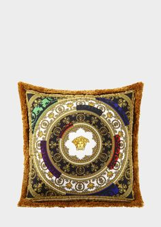 I ♡ Baroque N' Roll Cushion by Versace Home. The I ♡ Baroque 'n' Roll print adds vibrant refinement to home décor with this square, fine silk decorative cushion with fringed borders. Cushions For Sale, Gold Cushions, Decorative Cushions, Baroque, Versace Home, En Stock, Luxury Living, Home Collections, Decoration