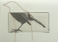 original etching of a bird ,hand pulled on Etsy, $17.36 CAD the additional stitching is fantastic!